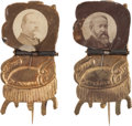 Political:Ferrotypes / Photo Badges (pre-1896), Grover Cleveland and Benjamin Harrison: Choice MechanicalChairs.... (Total: 2 Items)
