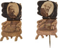Political:Ferrotypes / Photo Badges (pre-1896), Grover Cleveland and Benjamin Harrison: Small Size MechanicalChairs.... (Total: 2 Items)