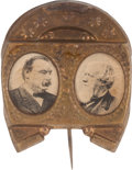 Political:Ferrotypes / Photo Badges (pre-1896), Cleveland & Thurman: Horseshoe Jugate....