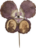 Political:Ferrotypes / Photo Badges (pre-1896), Cleveland & Thurman: Jugate Pansy Stickpin....
