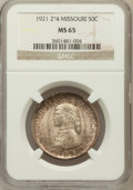 Commemorative Silver: , 1921 50C Missouri 2x4 MS65 NGC. NGC Census: (260/61). PCGSPopulation (280/27). Mintage: 5,000. Numismedia Wsl. Price for p...
