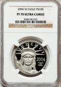 Modern Bullion Coins, 2004-W P$100 One-Ounce Platinum Eagle PR70 Ultra Cameo NGC. NGCCensus: (0). PCGS Population (93). Numismedia Wsl. Price f...