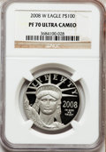 Modern Bullion Coins, 2008-W $100 One-Ounce Platinum Eagle PR70 Ultra Cameo NGC. NGCCensus: (0). PCGS Population (151). (#393092)...
