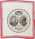 Political:Textile Display (pre-1896), Harrison & Morton: Graphic and Colorful Jugate Bandanna....
