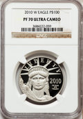 Modern Bullion Coins, 2010-W $100 One-Ounce Platinum Eagle PR70 Ultra Cameo NGC. NGCCensus: (306). PCGS Population (188). Numismedia Wsl. Price...