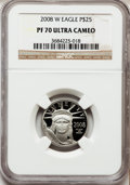 Modern Bullion Coins, 2008-W $25 Platinum Eagle PR70 Ultra Cameo NGC. NGC Census: (0).PCGS Population (212). (#393088)...
