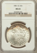 Morgan Dollars: , 1881-CC $1 MS65 NGC. NGC Census: (2023/1004). PCGS Population(4267/1546). Mintage: 296,000. Numismedia Wsl. Price for prob...
