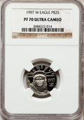 Modern Bullion Coins: , 1997-W P$25 Quarter-Ounce Platinum Eagle PR70 Ultra Cameo NGC. NGCCensus: (507). PCGS Population (107). Mintage: 18,726. N...