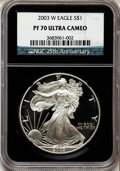Modern Bullion Coins: , 2003-W $1 Silver Eagle PR70 Ultra Cameo NGC. NGC Census: (7435).PCGS Population (1187). Numismedia Wsl. Price for problem...