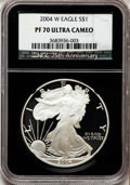 Modern Bullion Coins, 2004-W $1 Silver Eagle PR70 Ultra Cameo NGC. NGC Census: (8703).PCGS Population (1432). Numismedia Wsl. Price for problem...