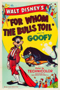 "Movie Posters:Animated, For Whom the Bulls Toil (RKO, 1953). One Sheet (27"" X 41"").. ..."