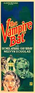 "Movie Posters:Horror, The Vampire Bat (Majestic, 1933). Insert (14"" X 36"").. ..."