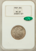 Barber Quarters: , 1907 25C MS63 NGC. CAC. NGC Census: (65/102). PCGS Population(89/138). Mintage: 7,192,575. Numismedia Wsl. Price for probl...
