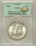 Walking Liberty Half Dollars, 1934 50C MS65 PCGS. Gold CAC. PCGS Population (808/577). NGCCensus: (590/392). Mintage: 6,964,000. Numismedia Wsl. Price f...