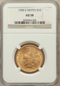 Indian Eagles: , 1908-D $10 Motto AU58 NGC. NGC Census: (205/395). PCGS Population(146/395). Mintage: 836,500. Numismedia Wsl. Price for pr...