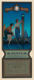 Prints:American, MAXFIELD PARRISH (American, 1870-1966). Venetian Lamplighter,1924 Edison Mazda calendar illustration, 1923. Color litho...