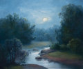 Fine Art - Painting, American, MILBIE BENGE (American, b. 1948). Meandering Stream. Oil oncanvas. 20 x 24 inches (50.8 x 61.0 cm). Signed lower left: ...