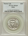 Modern Bullion Coins, 2004 P$50 Half-Ounce Platinum Eagle MS69 PCGS. PCGS Population(4030/75). NGC Census: (1356/1029). Numismedia Wsl. Price f...