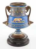 Decorative Arts, French:Other , A FRENCH PORCELAIN AND PATINATED METAL URN . Circa 1875. 12-3/8inches high (31.4 cm). ...