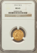 Indian Quarter Eagles: , 1914 $2 1/2 MS65 NGC. NGC Census: (44/3). PCGS Population (50/3).Mintage: 240,000. Numismedia Wsl. Price for problem free ...