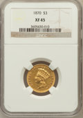 Three Dollar Gold Pieces: , 1870 $3 XF45 NGC. NGC Census: (26/212). PCGS Population (16/164).Mintage: 3,500. Numismedia Wsl. Price for problem free NG...
