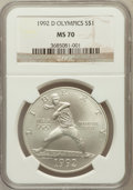 Modern Issues: , 1992-D $1 Olympic Silver Dollar MS70 NGC. NGC Census: (158). PCGSPopulation (113). Mintage: 187,552. Numismedia Wsl. Price...