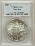 Modern Issues: , 1989-D $1 Congress Silver Dollar MS68 PCGS. PCGS Population(129/1726). NGC Census: (31/2089). Mintage: 135,203. Numismedia...