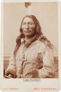 Photography:Cabinet Photos, Albumen Cabinet Card Photo: Long Feather - Sioux,...