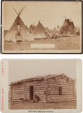 Photography:Cabinet Photos, Albumen Cabinet Card Photos: Two Sitting Bull's Camp & SittingBull's Cabin, ... (Total: 2 Items)
