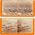 """Photography:Stereo Cards, Two Albumen Stereoviews: Panorama of Virginia City, Nevada, and """"From the North."""" ... (Total: 2 Items)"""