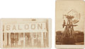 Photography:CDVs, Two Anonymous CDV Photos: Saloon and Windmill.... (Total: 2 Items)