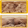 Photography:Stereo Cards, Two Albumen Photographs: Big Oak Flat, Toulumne County, California and Summit Valley from Lava Bluff near Donner Pass.... (Total: 2 Items)