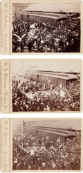 Photography:Cabinet Photos, Three Cabinet Cards: President Harrison Election Speeches at Train Station in Oregon.... (Total: 3 Items)