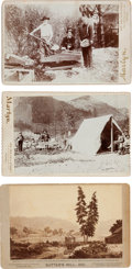 Photography:Cabinet Photos, Three Cabinet Cards: Sutter's Mill, 1851 and California Miners. ...(Total: 3 Items)