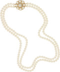 Estate Jewelry:Necklaces, Cultured Pearl, Diamond, Gold Convertible Necklace. ...
