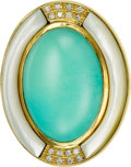 Estate Jewelry:Brooches - Pins, Turquoise, Diamond, Mother-of-Pearl, Gold Brooch. ...