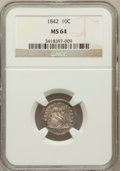 Seated Dimes: , 1842 10C MS64 NGC. NGC Census: (14/11). PCGS Population (13/9).Mintage: 1,887,500. Numismedia Wsl. Price for problem free ...
