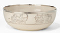Ceramics & Porcelain, American:Modern  (1900 1949)  , A WILLETS BELLEEK CERAMIC AND SILVER OVERLAY BOWL . Circa 1910. Marks: (W on plinth), BELLEEK, WILLETS. 3-3/8 inches hig...