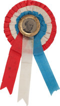 Political:Ferrotypes / Photo Badges (pre-1896), Horatio Seymour: Showy Ferrotype on Rosette. ...