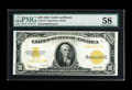 Large Size:Gold Certificates, Fr. 1173 $10 1922 Gold Certificate PMG Choice About Unc 58. Apleasing Gold Seal that is very bright. The bottom margin is a...