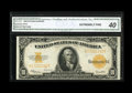 Large Size:Gold Certificates, Fr. 1173 $10 1922 Gold Certificate CGA Extremely Fine 40. A strictly original example, with ideal color and broad, even marg...