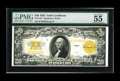 Large Size:Gold Certificates, Fr. 1187 $20 1922 Gold Certificate PMG About Uncirculated 55 EPQ. Hearty embossing is noticed on the pristine surfaces which...