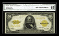 Large Size:Gold Certificates, Fr. 1200 $50 1922 Gold Certificate CGA Gem Uncirculated 65. Simplya gorgeous Gold Grant with vivid color and embossing that...