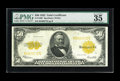 Large Size:Gold Certificates, Fr. 1200 $50 1922 Gold Certificate PMG Very Fine 35 EPQ. Nice colorand bold print highlight this pleasing mid-grade Gold No...