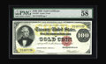 Large Size:Gold Certificates, Fr. 1207 $100 1882 Gold Certificate PMG Choice About Unc 58 EPQ.Beauty and rarity are combined with this embossed note that...