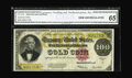 Large Size:Gold Certificates, Fr. 1215 $100 1922 Gold Certificate CGA Gem Uncirculated 65. Boldinks on white paper highlight this $100 Gold that posseses...