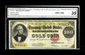 Large Size:Gold Certificates, Fr. 1215 $100 1922 Gold Certificate CGA Very Fine 35. The ink colors are as bold on this note as they would be on a higher g...