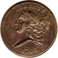 1793 1/2 C AU55 PCGS. C-1, B-1, R.4. The C-1 variety is considered by most specialists to be the first 1793 half cent st...
