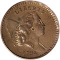 1794 1/2 C AU55 PCGS. C-9, B-9, R.2. High Relief Head. After the debut of this denomination in 1793, which was a single...