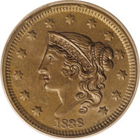 1838 1C MS64 Brown PCGS. N-1, R.1. Although Bill Noyes states that there are no collectible die states of the N-1 variet...